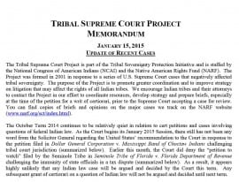 Tribal Supreme Court Project Memo January 2015