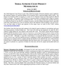 Tribal Supreme Court Project, April 2015 Update Memorandum