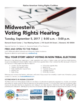 flyer for Native Voting Rights Hearing, September 5, 2017, Bismarck ND