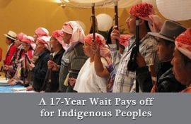 Text: A 17 year wait pays off for Indigenous Peoples. Image courtesy of OAS.