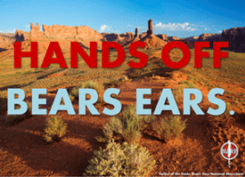 Photo of Bears Ears with text overlay: Hands Off Bears Ears