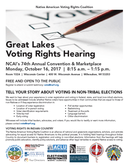 Flyer for hearing October 16, 2017, at Milwaukee WI