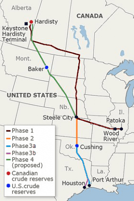 map of Keystone Pipeline