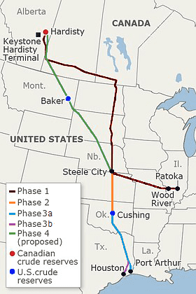 Map of Keystone Pipeline Route