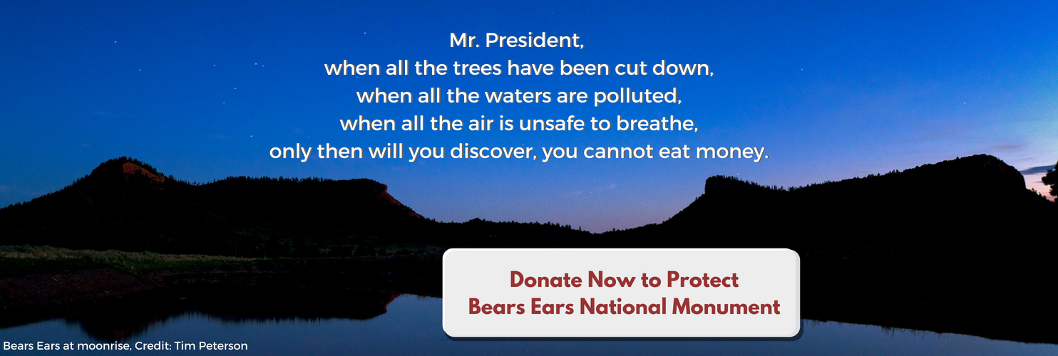 When all trees cut down, all water polluted, you will discover you can't eat money. Donate now to protect Bears Ears.