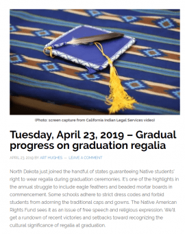 Screenshot of Native American Calling website with graduation cap and gown