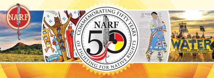 Colorful banner with images from NARF's past and 50th logo