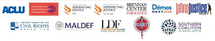 Collected logos of the members of the Voting Rights Working Group