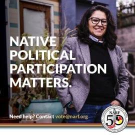 Text: Native Political Participation Matters. Photo: Smiling woman.