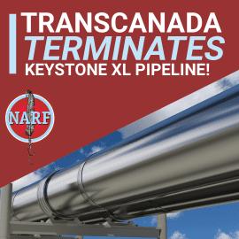 Photo of pipeline with text: TransCanada Terminates KXL Pipeline