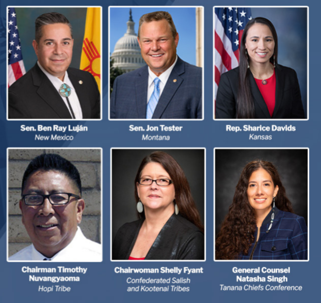 A listing of speakers with their photos for Native voting rights roundtable