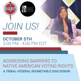 Native American Voting Rights Roundtable. October 5 at 3-4 pm ET.